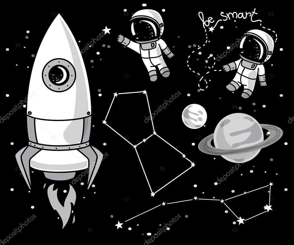 Cute hand drawn elements for cosmic design: planets ...
