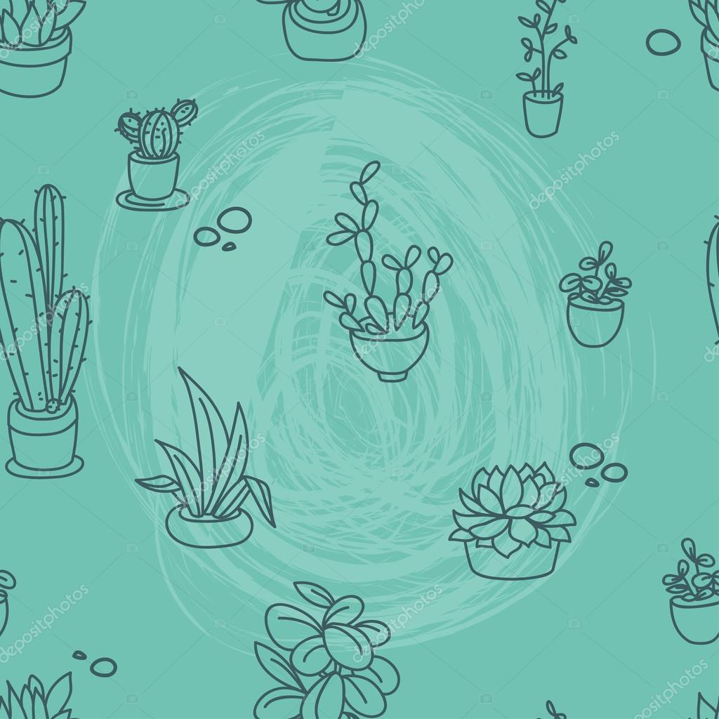 Seamless pattern of cute potted plants