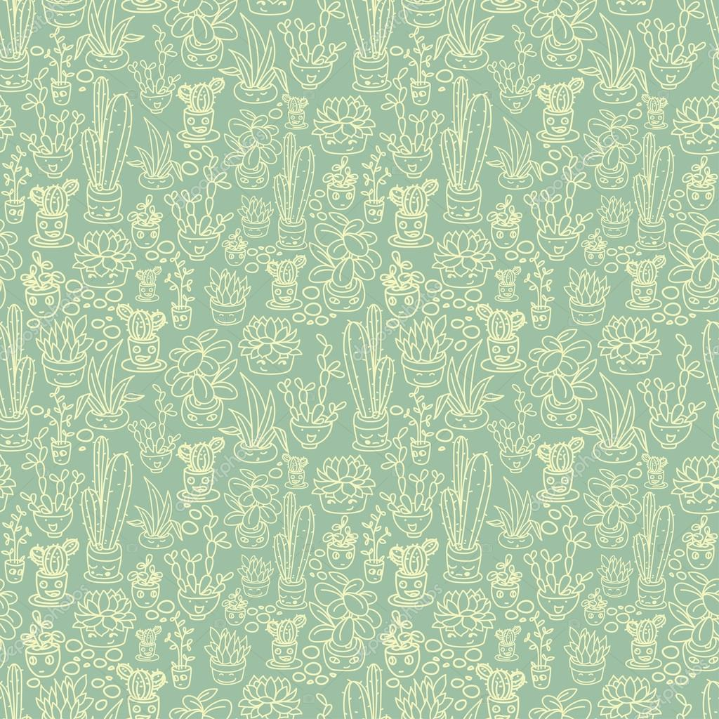 Seamless pattern of cute potted plants with funny cartoon faces