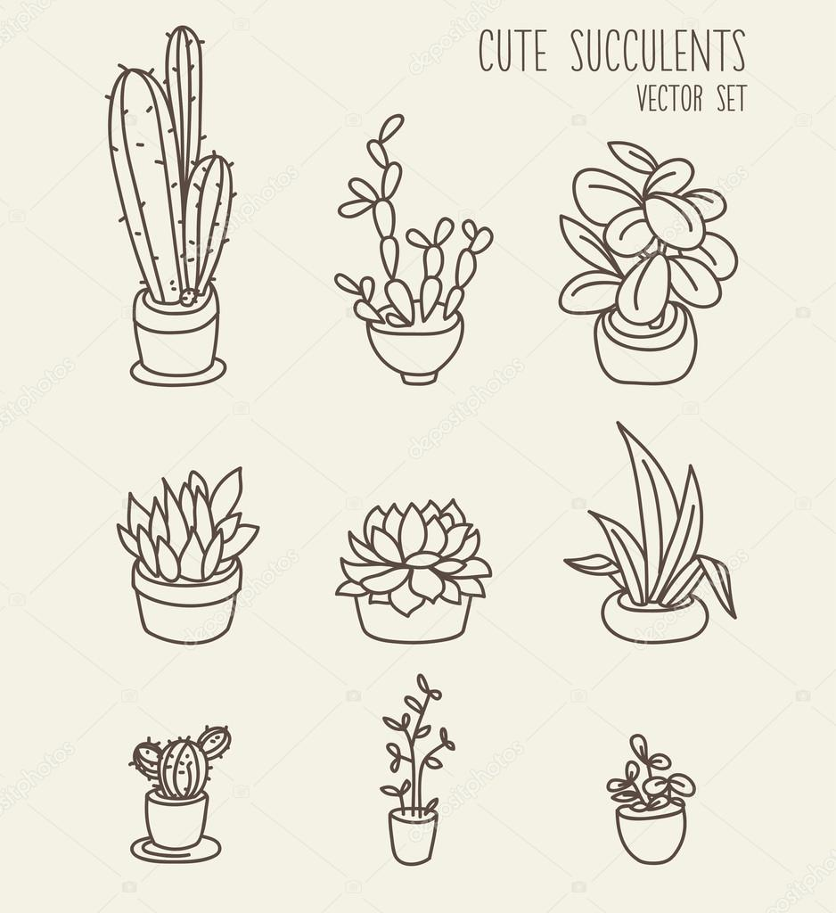 Set of cute potted plants