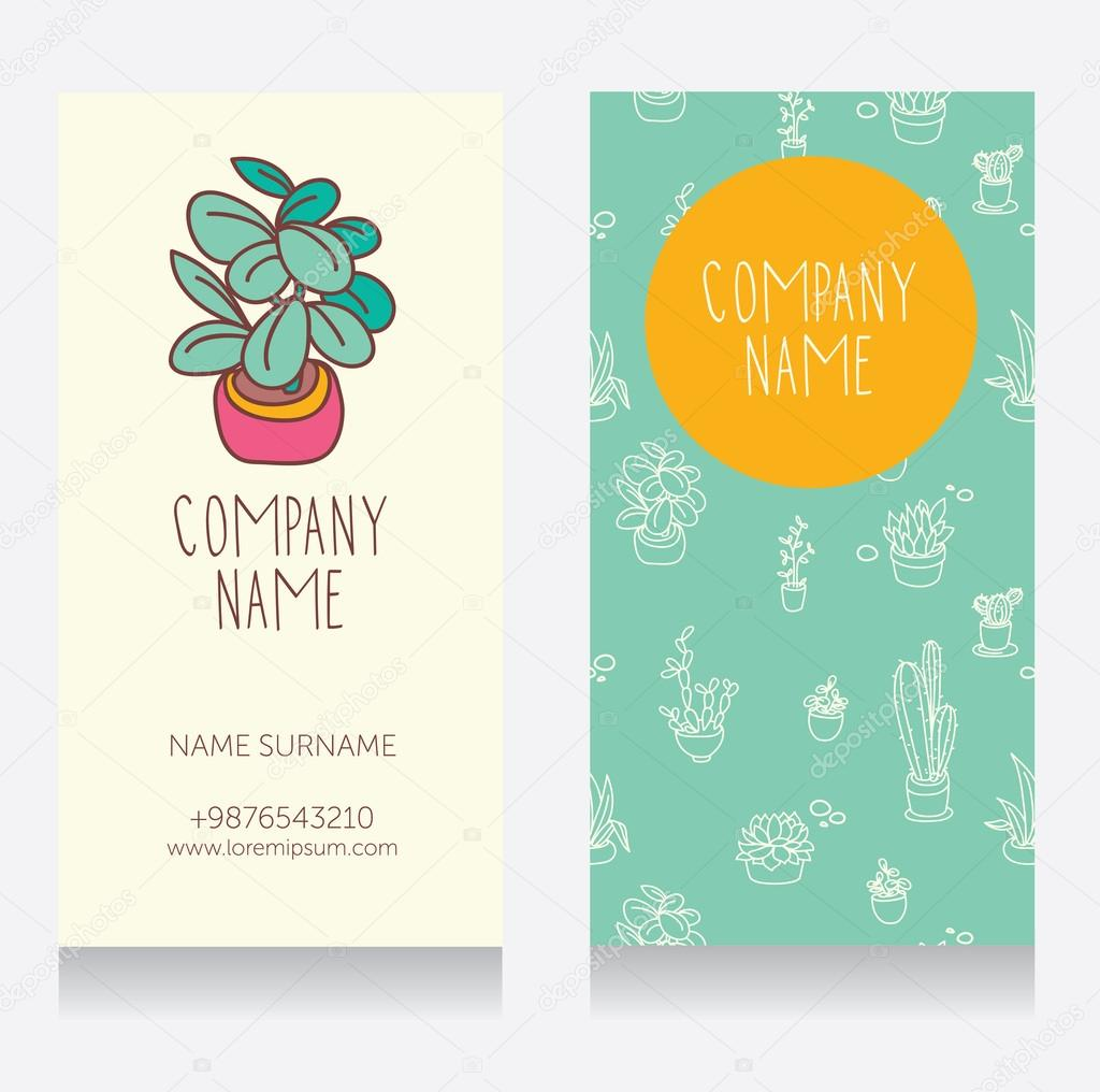 Business card design with cute potted plants for florist shop ...