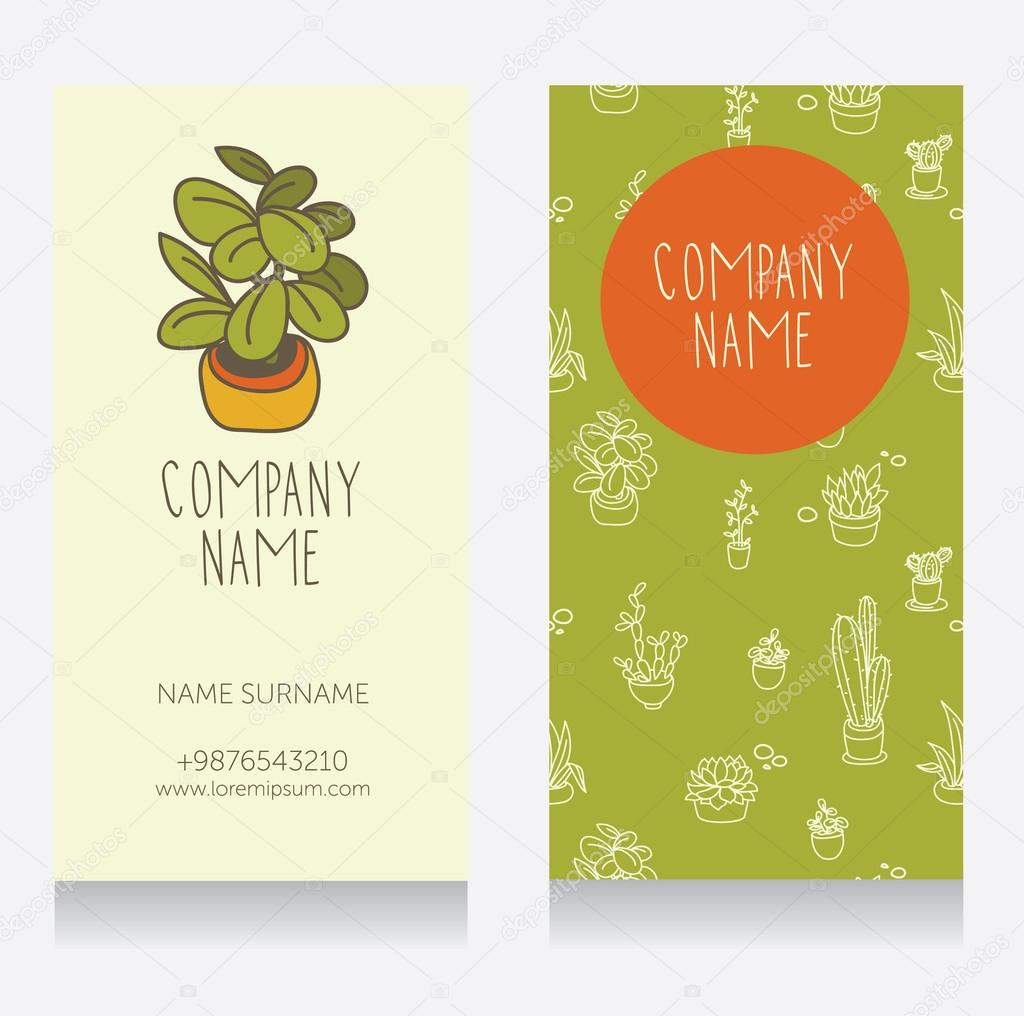 Business card design with cute potted plants for florist shop