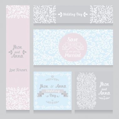 Collection of beautiful floral wedding cards