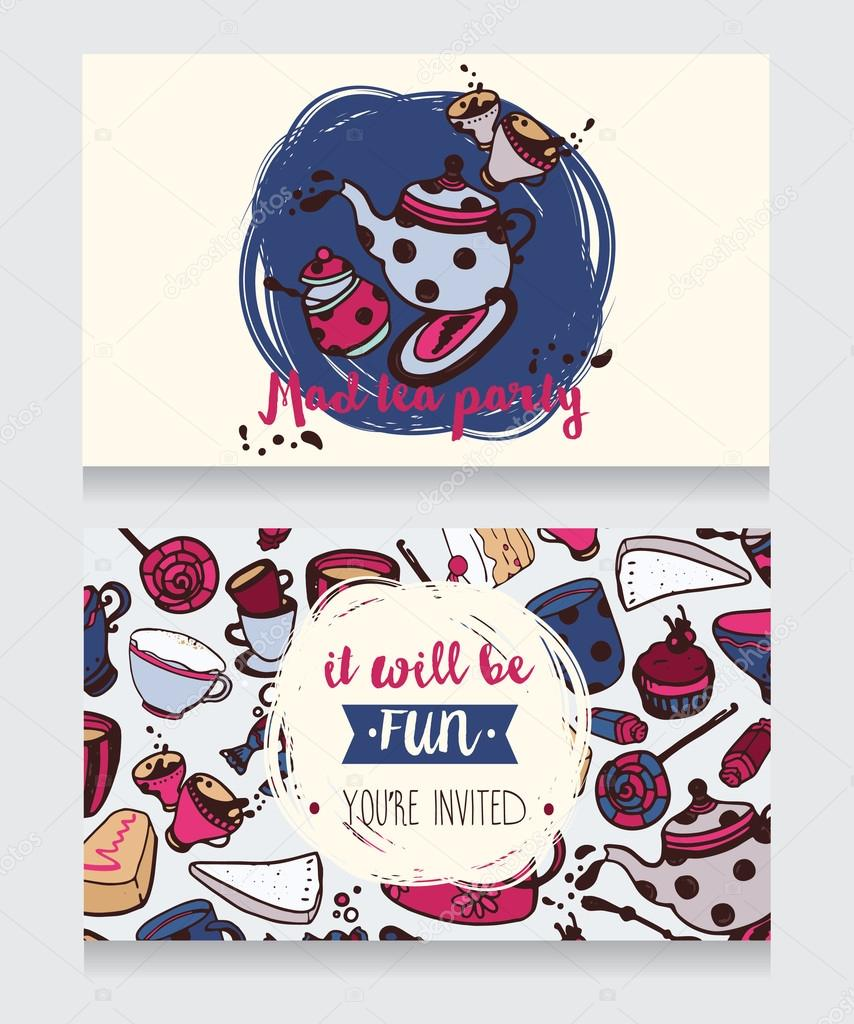 Invitation card for mad tea party or cute funny business card for tea room