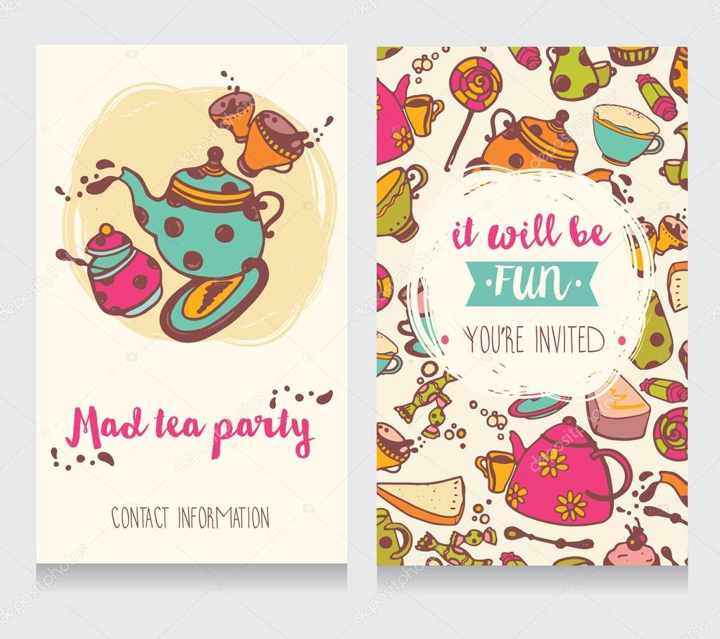 Einladungskarte Für Verrückte Teeparty Oder Hübsch Lustig