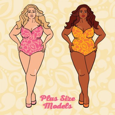 Two different nation ladies in swimsuits, plus size models