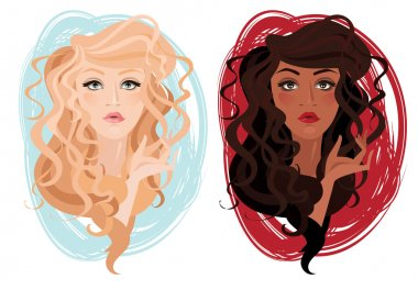 Two vector portrait of beautiful different nations young girls with curly hair