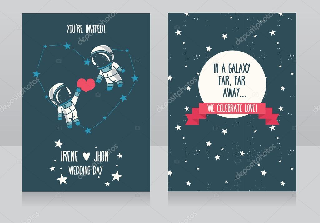 Wedding invitations with stars and cute astronauts