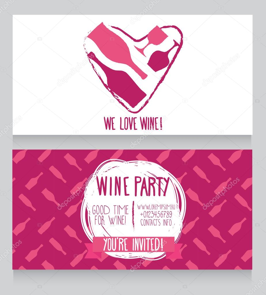 Invitation for wine party, can be used as template for wine shop ...