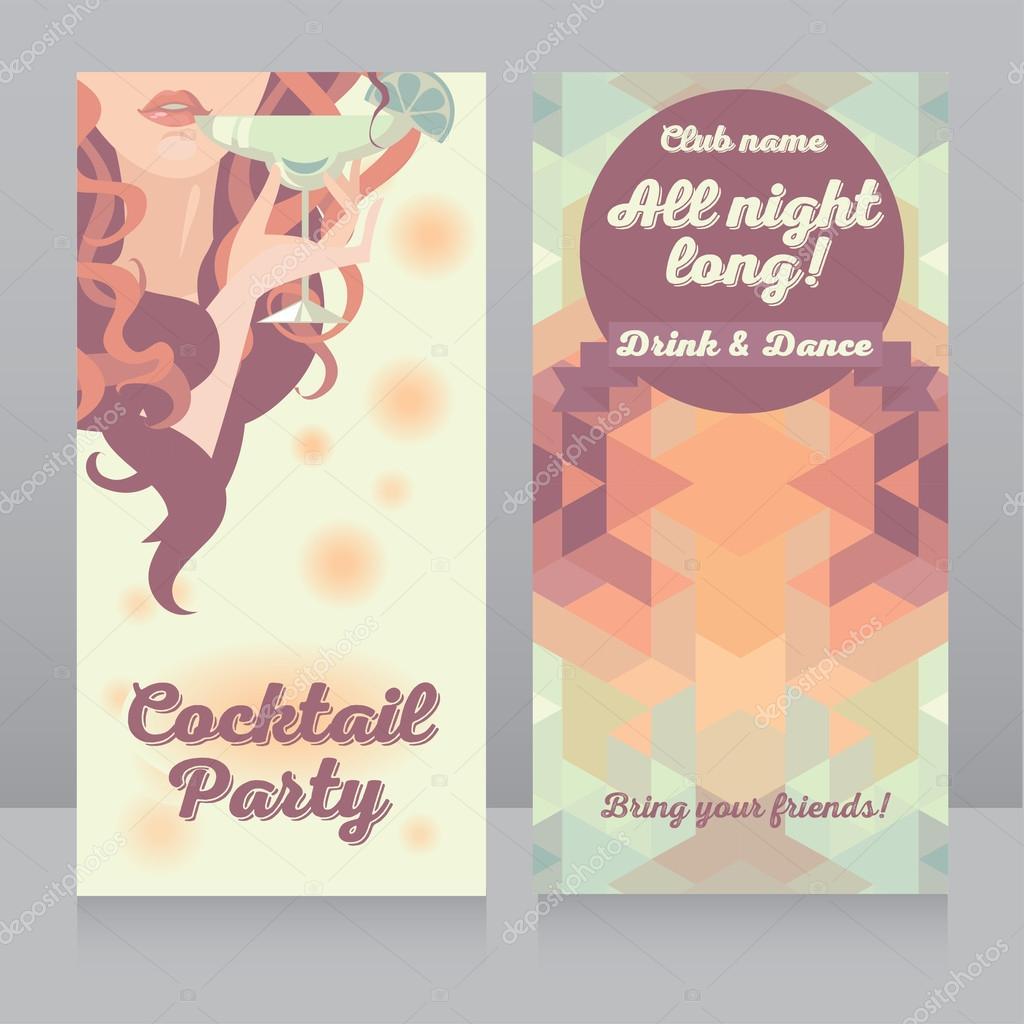Vorlage Für Cocktail Party Einladung Mit Schönen Mädchen Trinken Margarita  U2014 Stockvektor #69452119