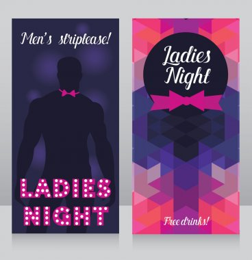 Cards for night club with sexy man's silhouette