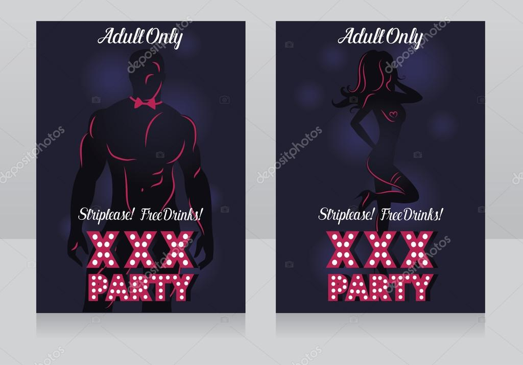Two Cards For Xxx Party With Man S And Woman S Silhouette