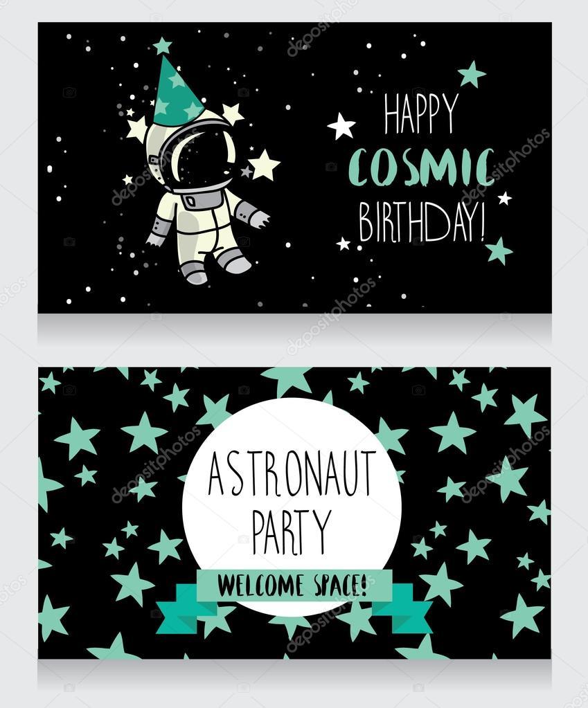 Cartoline Divertenti Per La Festa Di Compleanno In Stile Cosmico