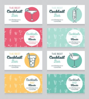 Collection of business cards for cocktail bar