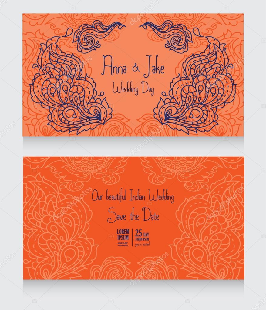 Plantillas para invitación de boda en estilo indio — Vector de stock ...
