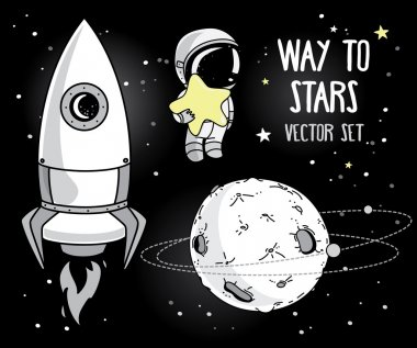 Cute hand drawn elements for cosmic design