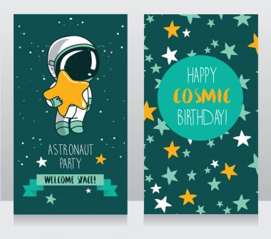 Card with cute astronaut and stars in space for birthday party in cosmic style