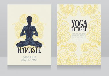 Cards for yoga retreat or yoga studio with paisley ornament and human in lotus asana