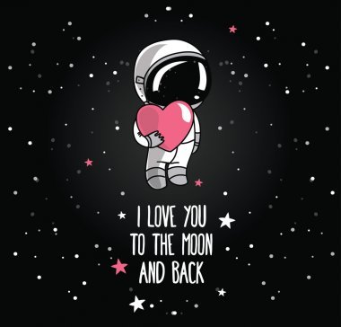 Cute hand drawn astronaut with heart