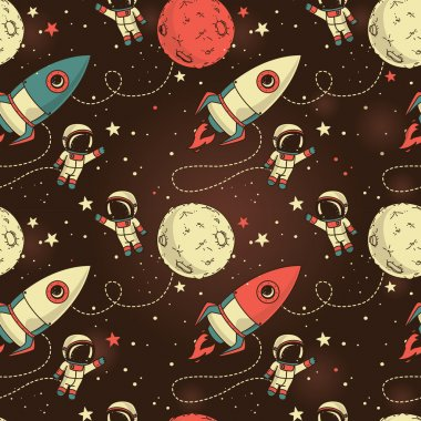 Seamless background with cute doodle astronauts, planets, rockets and stars