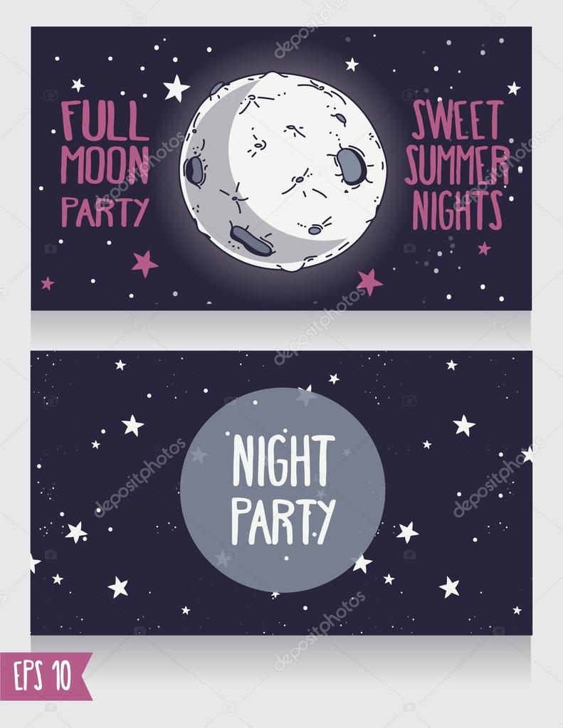 invitation template to full moon party stock vector