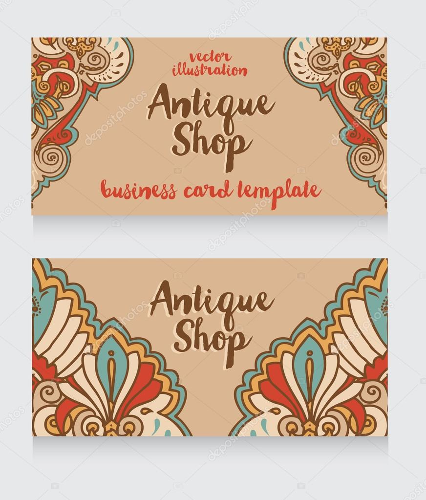 business cards template for antique shop — Stock Vector ...