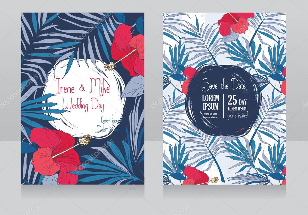 wedding invitations in tropical style