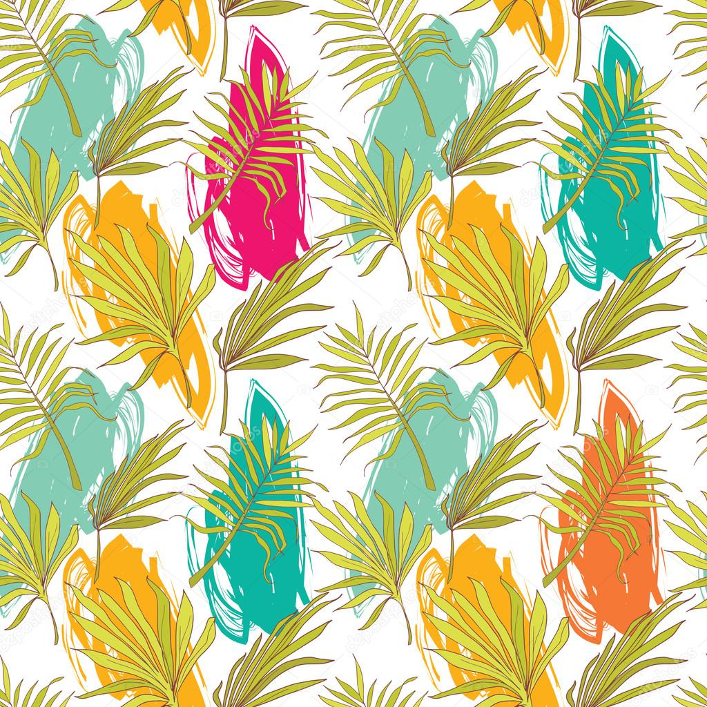 seamless pattern with palm leaves and painting blurs