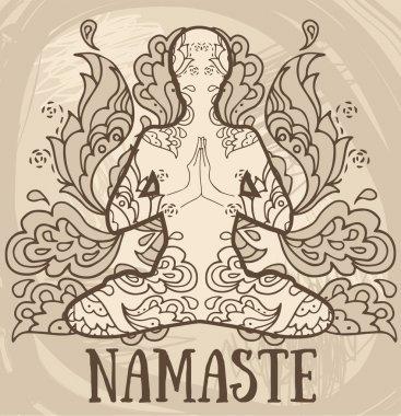namaste banner, human in lotus asana with paisley ornament