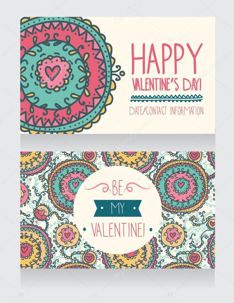 Einladungskarten Zum Valentinstag Im Boho Stil Stockvektor
