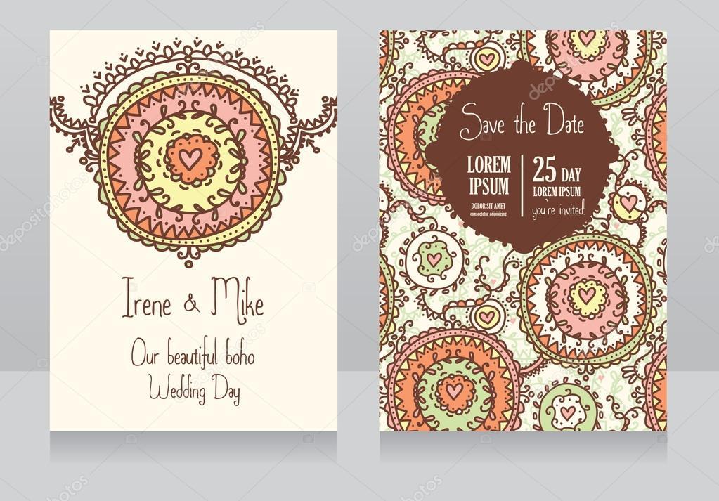 Zwei Hochzeit Einladungskarten Fur Boho Style Stockvektor