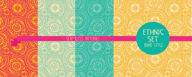 set of four ethnic seamless patterns