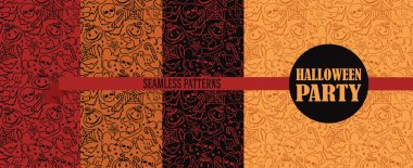 set of four seamless patterns for halloween
