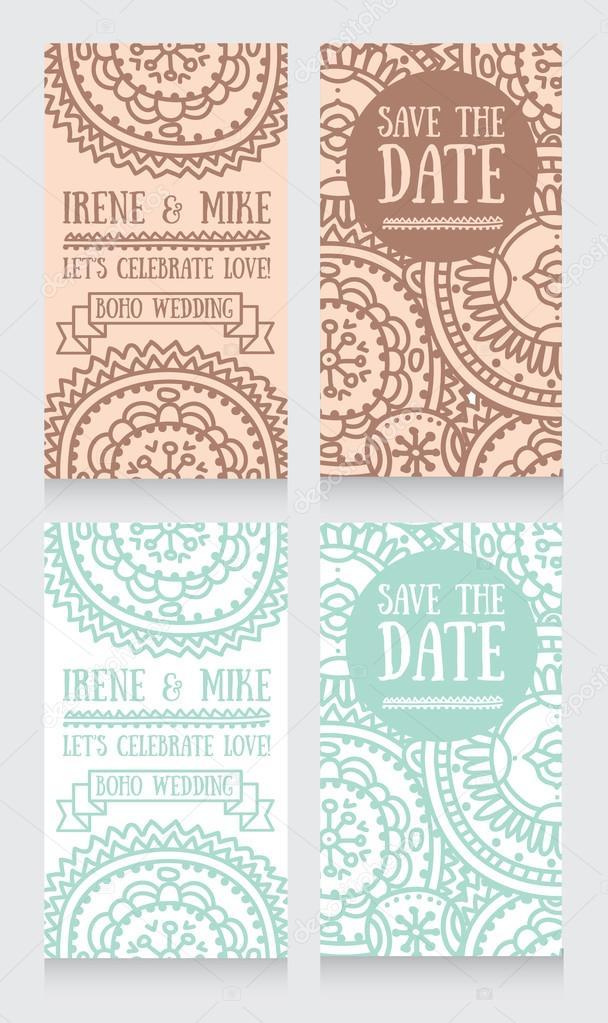 Hochzeit Einladungskarten Für Boho Style U2014 Stockvektor