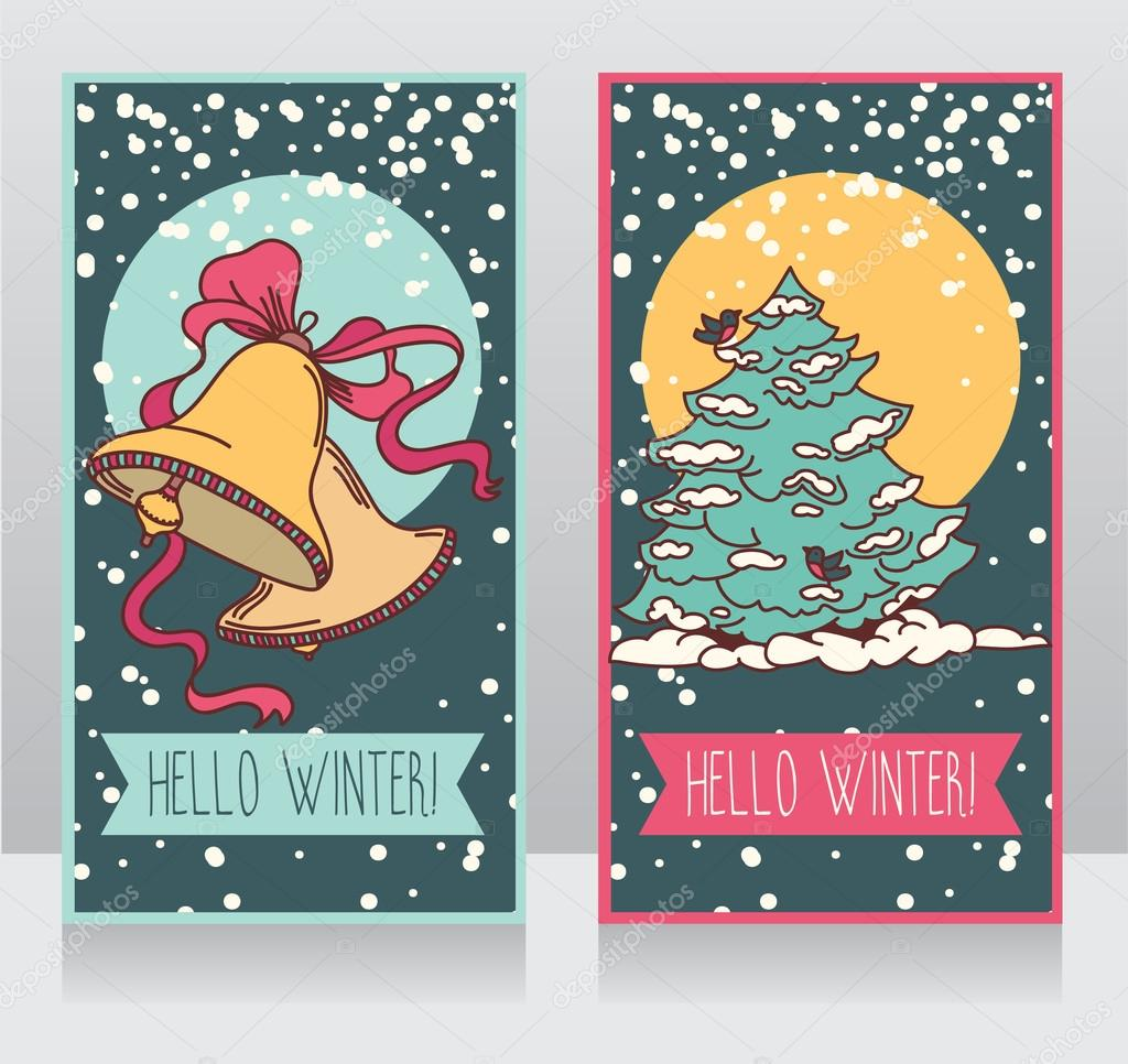 Winter cards with cute christmas tree and bells