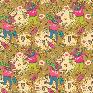 seamless pattern with funny drinking Rudolph reindeer
