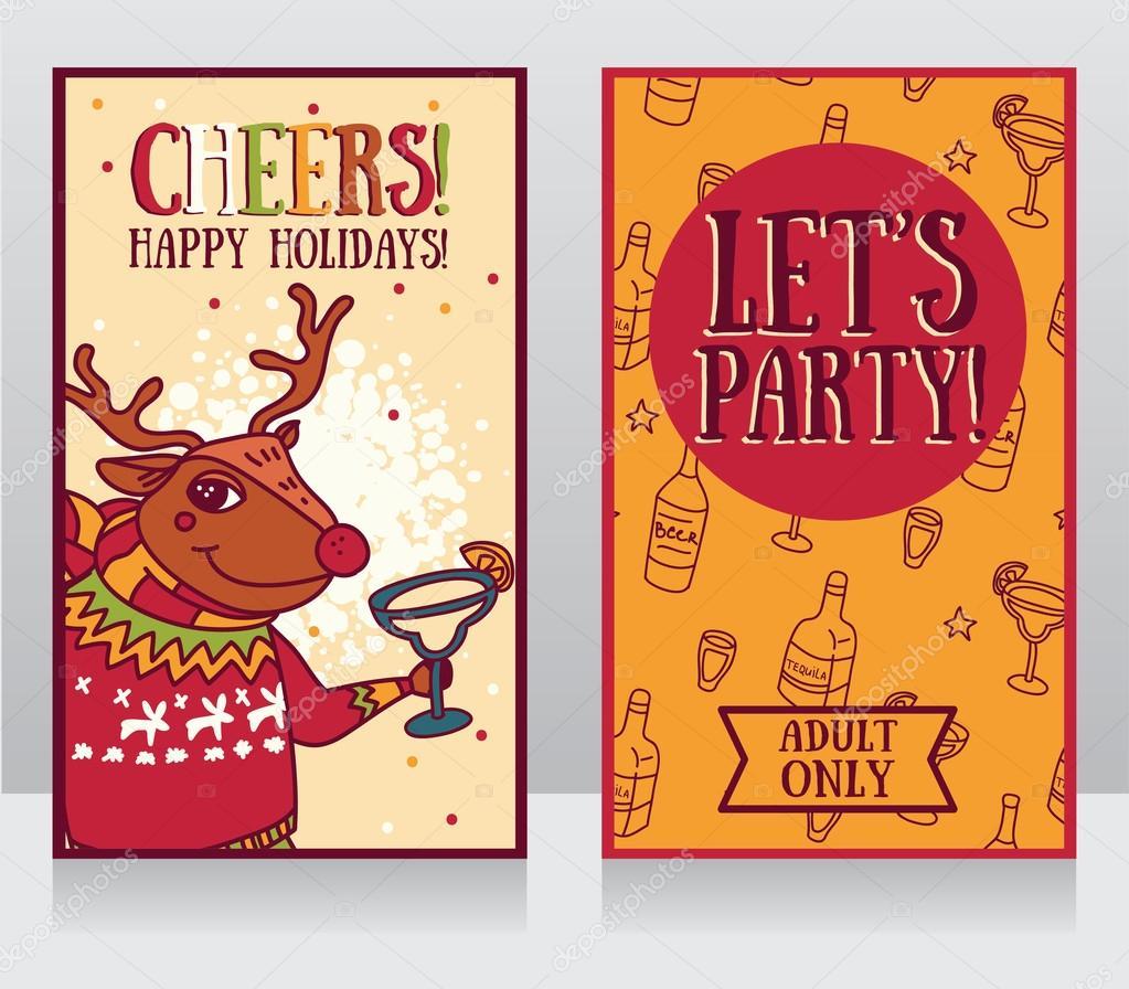für einladung zur weihnachtsfeier, rudolph rentier cocktail, Einladung