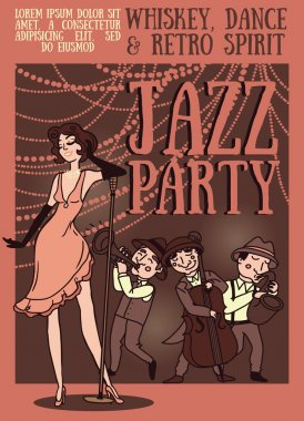 Card template for jazz night party