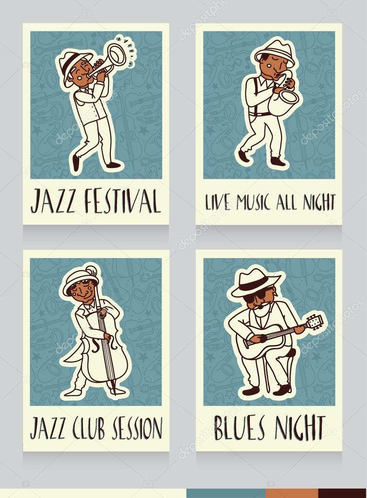 Flyers for jazz or blues music band — Stock Vector