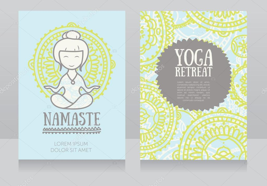cards template for yoga retreat or yoga studio with cute girl in