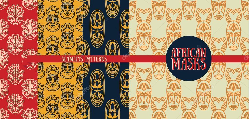 Set Of Seamless Patterns With Tribal African Masks Stock Vector Awesome African Tribal Patterns