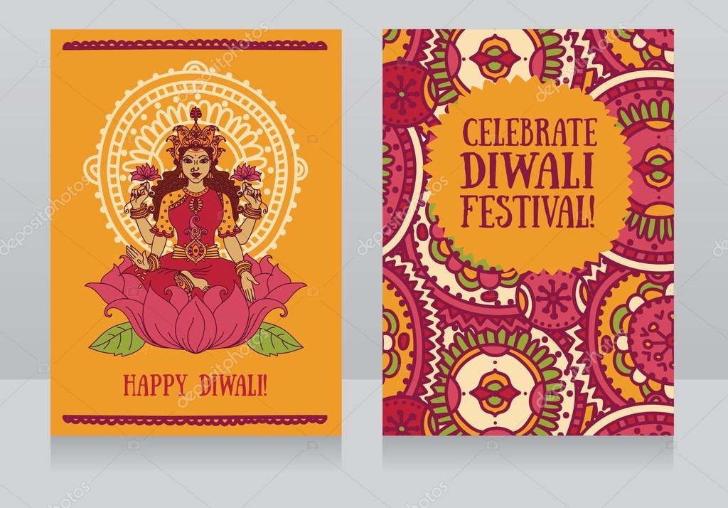 Beautiful greeting cards for diwali festival with indian goddess beautiful greeting cards for diwali festival with indian goddess lakshmi and colorful ornament stock vector m4hsunfo