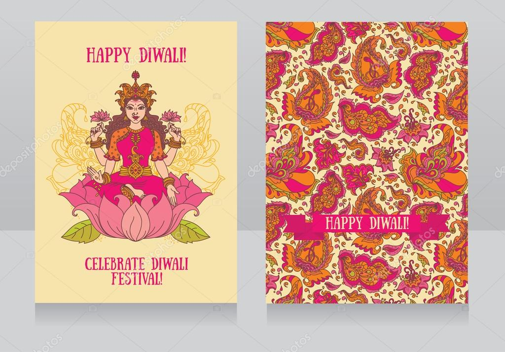Beautiful greeting cards for diwali festival with indian goddess beautiful greeting cards for diwali festival with indian goddess lakshm stock vector m4hsunfo