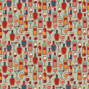 Seamless pattern with cocktails and bottles of alcohol