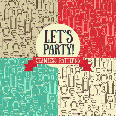 set of seamless patterns with cocktails and bottles of alcohol