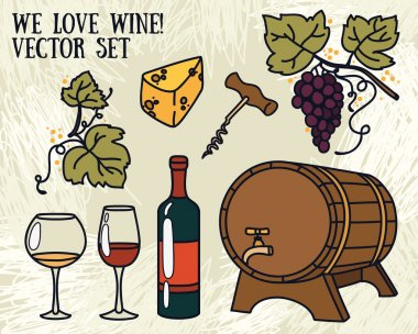 Set of vector illustrations for wine and winemaking