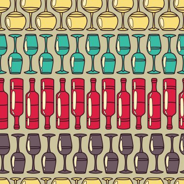 Seamless pattern with wine glasses and wine bottles