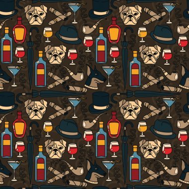 Seamless pattern for gentleman's club