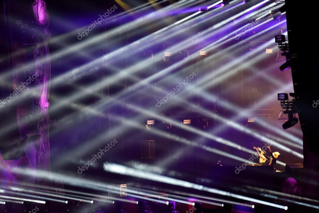 Stage lights at a live EDM concert