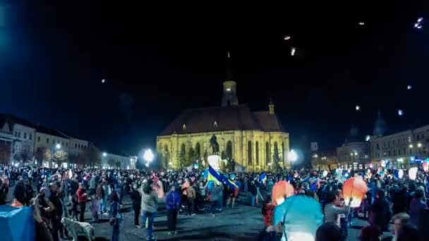 Time lapse with air balloons released at night